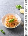 Italian pasta spaghetti with shrimps. Close up. 74644110