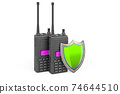 Portable radios walkie-talkie with shield, 3D rendering 74644510