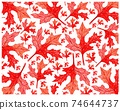 Illustration of Beautiful Fresh Red Hibiscus Leaves Background 74644737