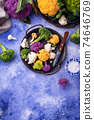 Purple, yellow, white and green color cauliflowers 74646769