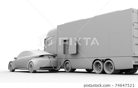 A clay-rendered image of a mobile charging truck that has a quick charger to charge an EV. 74647521