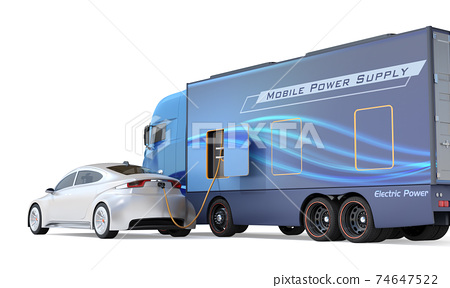 An image of a mobile charging truck charging an EV with a lack of electricity on the shoulder. EV power shortage road service concept 74647522