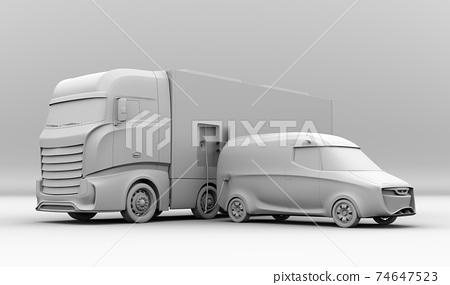 A clay-rendered image of a mobile charging truck that has a quick charger to charge an EV. 74647523