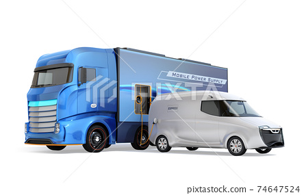 An image of a mobile charging truck charging an EV with a lack of electricity on the shoulder. EV power shortage road service concept 74647524