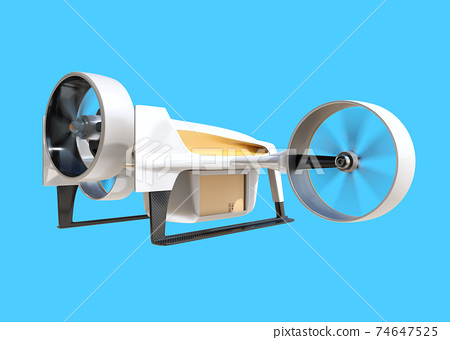 Image of a drone carrying a cardboard box on a blue background. High-speed unmanned delivery concept 74647525