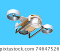 Image of a drone carrying a cardboard box on a blue background. High-speed unmanned delivery concept 74647526