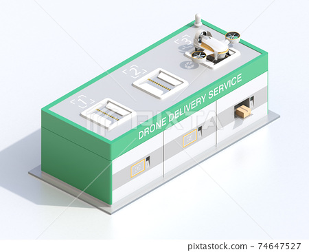 An isometric image of a drone station where you can deliver and receive rechargeable deliveries of drones. 74647527