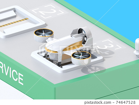 An isometric image of a drone station where you can deliver and receive rechargeable deliveries of drones. 74647528