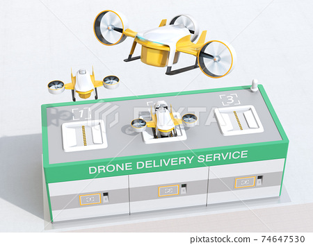 Image of a drone station where you can deliver and receive rechargeable deliveries of drones. 74647530