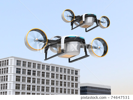 Image of a drone carrying a cardboard box. High-speed unmanned delivery concept 74647531