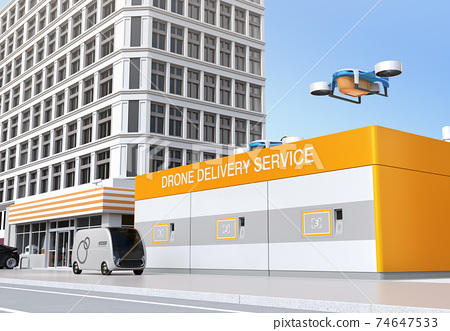 Image of a drone station where you can deliver and receive rechargeable deliveries of drones. 74647533