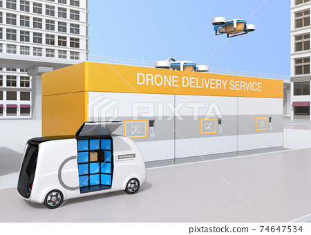 Image of a drone station where you can deliver and receive rechargeable deliveries of drones. 74647534