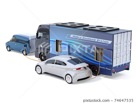 An image of a mobile charging truck charging an EV with a lack of electricity on the shoulder. EV power shortage road service concept 74647535