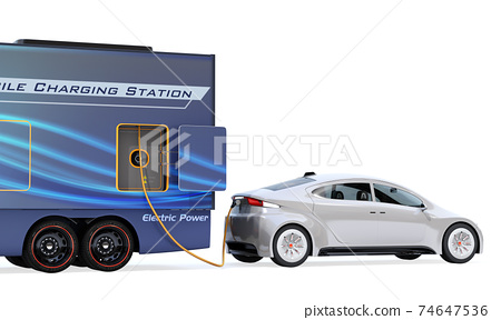 An image of a mobile charging truck charging an EV with a lack of electricity on the shoulder. EV power shortage road service concept 74647536