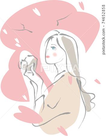 카메라를두고 벚꽃을 바라 보는 여성 74652858