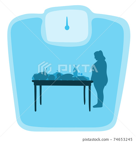 fat woman looking at food on table in front of big weight scale. Blue gradient shade background. Health concept. 74653245
