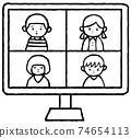 온라인 회의를하는 사람 74654113