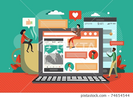 Social media concept vector illustration. People use social media mobile apps and services. Flat design banner for web, marketing material, online advertising 74654544