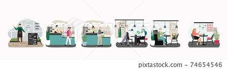Vector set of scenes with people in cafe. Man and woman drink coffee in restaurant, concept vector illustration. Customers buy coffee in cafe shop. Business lunch 74654546