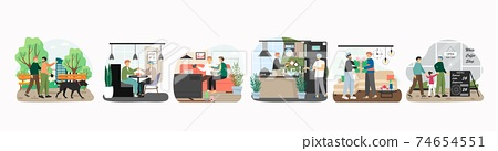 Happy lgbt gay couple in different situations, concept vector illustration. Homosexual men walking dog, cooking, watching movie together. LGBT people with child go to cafe 74654551