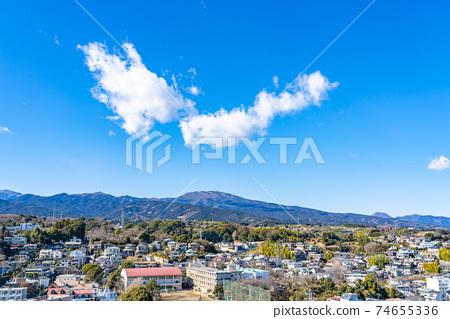 【카나가와 현】 깨끗한 푸른 하늘과오다 와라의 거리 풍경 74655336