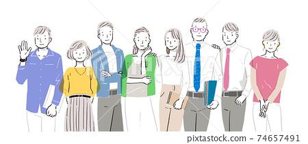 Illustration of male / female business team 74657491
