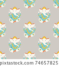 Seamless pattern with Ganesha elephants, symbol of Hinduism 74657825