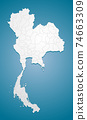 Map Thailand divided on regions, vector country 74663309