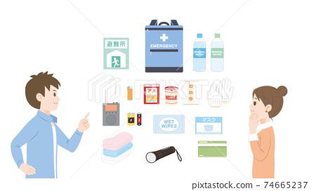 재해 상품 방재 세트 준비 확인 준비하는 성인 일러스트 소재 74665237