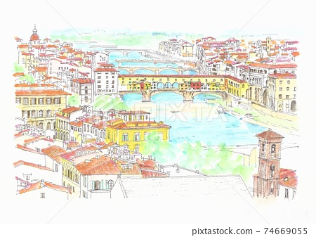 世界文化遺產-佛羅倫薩佛羅倫薩舊橋的城市景觀 74669055
