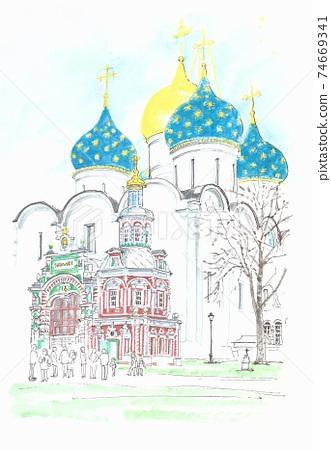 俄羅斯謝爾吉耶夫鎮的世界遺產城市景觀烏斯彭斯基大教堂 74669341