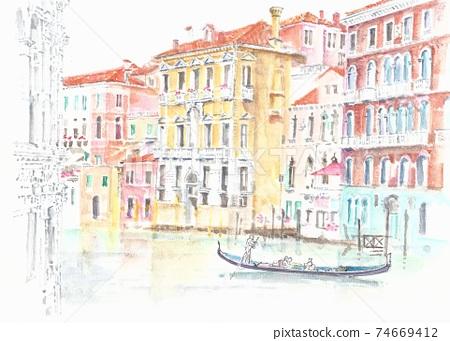 世界遺產城市景觀,意大利,威尼斯,大運河 74669412