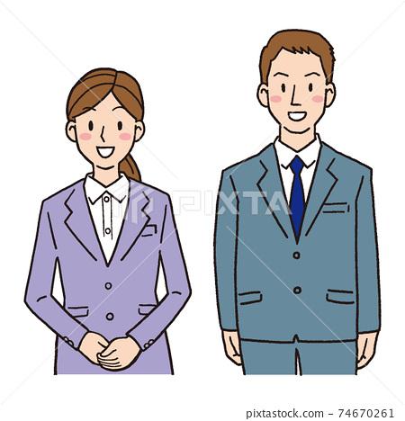 年輕的男人和女人的商人 74670261
