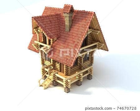 wooden house 3d illustration on white 74670728