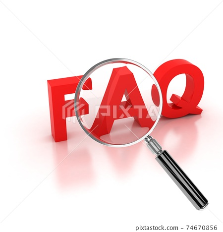 frequently asked questions icon - FAQ 3d letters under the magnifier 74670856