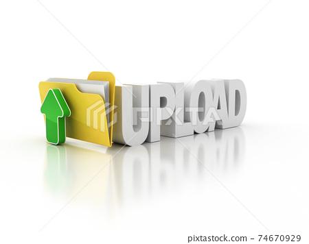 upload folder icon 3d illustration 74670929