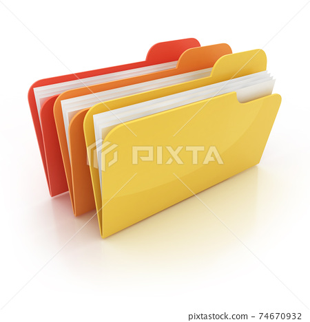 colorful 3d folders icon on white background 74670932