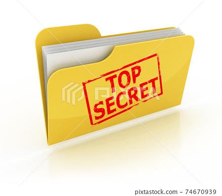 top secret folder folder over the white background 74670939