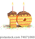 birthday cake in a shape of number 10 74671060