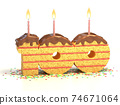 birthday cake in a shape of number 100 74671064