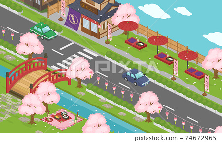 在春天和四月的櫻花和櫻花觀賞季節期間的日本城市景觀矢量圖(等距,等距) 74672965