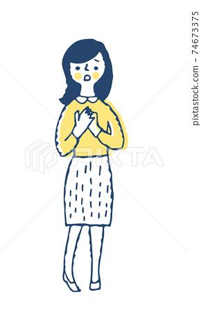 困惑的表情的年輕女子 74673375