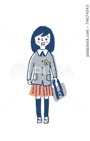 穿制服的女孩帶著困惑的表情 74674043