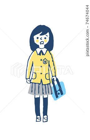 穿制服的女孩帶著困惑的表情 74674044