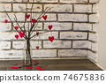branches and hearts bouquet wall background 74675836