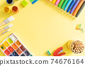 Online drawing class concept - supplies on bright background 74676164