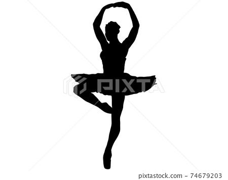 用兩隻手旋轉的芭蕾舞演員的剪影 74679203