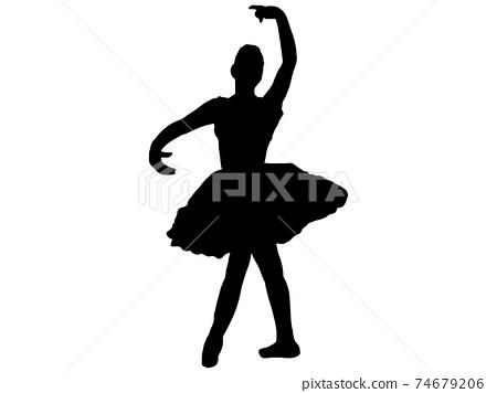 優美地擺姿勢_2的芭蕾舞演員剪影 74679206