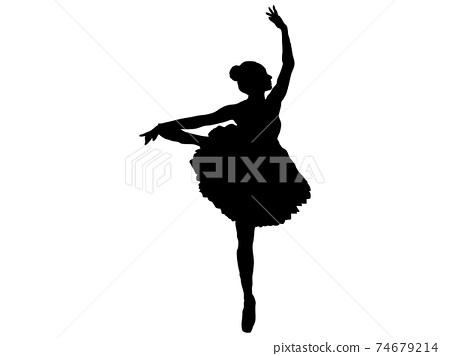 擺在一個leg_4上的芭蕾舞演員的剪影 74679214