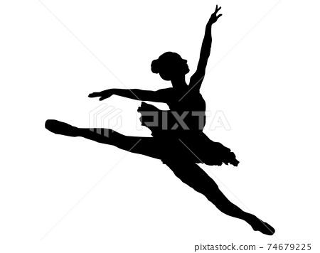 跳芭蕾舞者的剪影 74679225